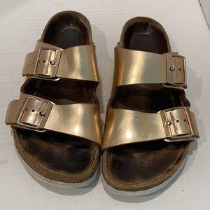 Birkenstock Gold Arizona Sandals 38